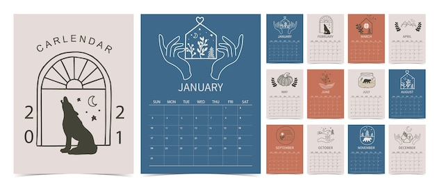 Calendario 2021 a mano di linea con fiore