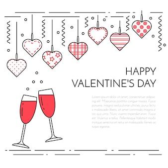 Striscione orizzontale per san valentino e tema della data.