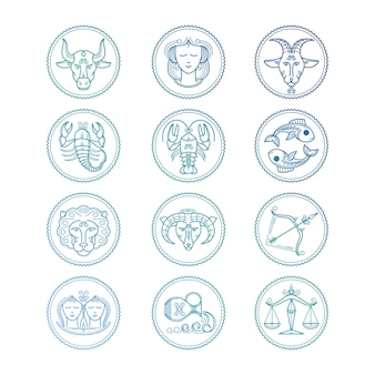 Icone di linea segni zodiacali impostati. emblemi colorati oroscopo Vettore Premium