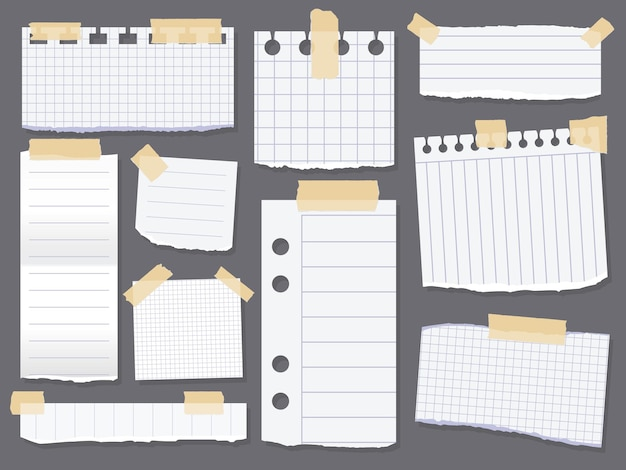 Documenti per appunti di linea. pezzi di carta a righe con nastro adesivo scozzese. rottami di carta per messaggio di promemoria. illustrazione