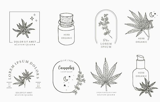 Collezione di oggetti linea, cannabis, bottiglia, contagocce, stella, forma