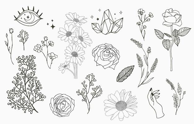 Collezione di oggetti linea con mano, magnolia, rosa, lavanda, gelsomino, foglia, fiore, girasole