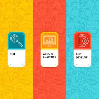 Set di modelli di linea seo. illustrazione vettoriale di logo design. modello per imballaggio con etichette.