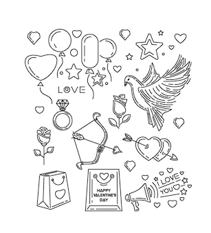 Linea impostata per san valentino e altri eventi romantici. ti amo. colomba, arco e freccia di cupido, cuori, fiori, rose, anello di diamanti. illustrazione
