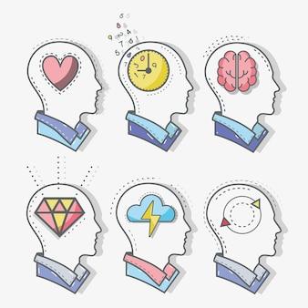 Linea mentale testa concetto di salute mentale