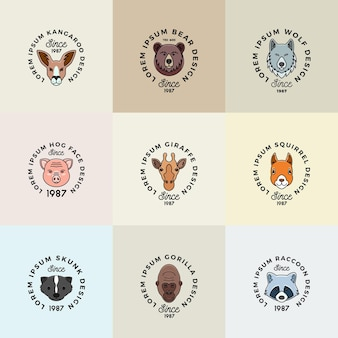 Facce di animali in stile linea impostate con simboli di segni vettoriali astratti di tipografia retrò o modelli di logo c...