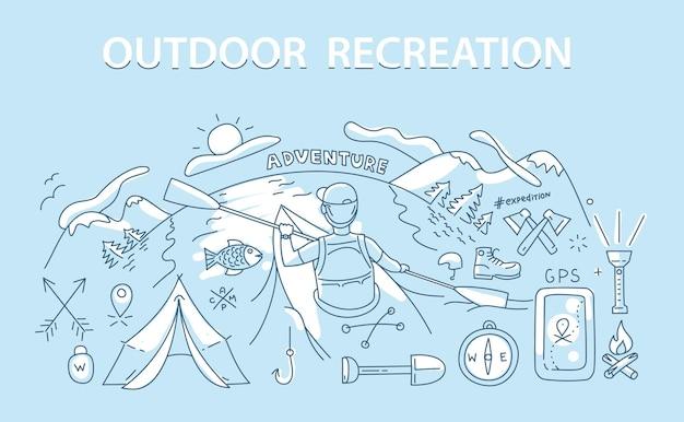 Concetto di design in stile linea di attività ricreative e viaggi all'aperto.