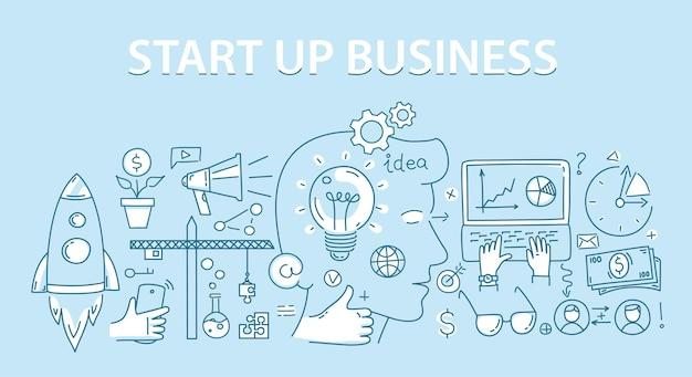 Concetto di design in stile linea di start up business.
