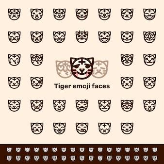 Volti di emoji di tigre di linea