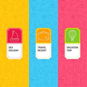 Set di modelli di viaggio di linea. illustrazione vettoriale di logo design. modello per imballaggio con etichette.