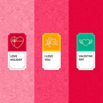 Set di modelli di linea di san valentino. illustrazione vettoriale di logo design. modello per imballaggio con etichette.