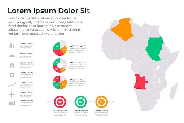 Mappa lineare africa infografica
