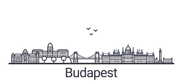 Banner lineare della città di budapest. tutti gli edifici di budapest: oggetti personalizzabili con maschera di opacità, in modo da poter modificare facilmente la composizione e il riempimento dello sfondo. linea artistica.