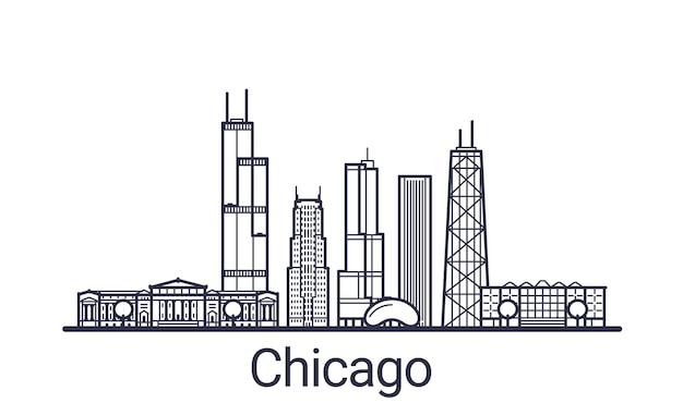 Banner lineare della città di chicago. tutti gli edifici di chicago: oggetti personalizzabili con maschera di opacità, in modo da poter modificare facilmente la composizione e il riempimento dello sfondo. linea artistica.