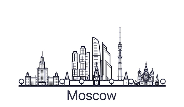 Banner lineare della città di mosca. tutti gli edifici di mosca art.