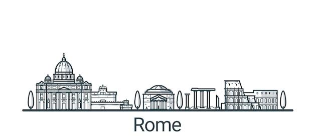Banner lineare della città di roma. tutti gli edifici