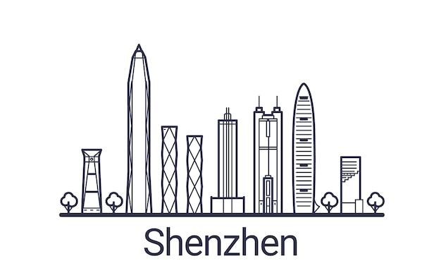 Bandiera lineare della città di shenzhen in mano disegnata