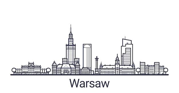 Banner lineare della città di varsavia. tutti gli edifici di varsavia
