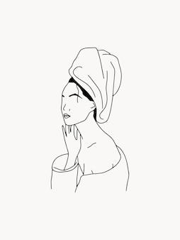 Illustrazione di moda bohémien lineare con donna astratta in asciugamano cura di sé alla moda minimal line art