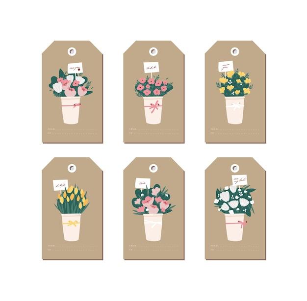 Design lineare bellissimi fiori bouquet su sfondo di carta del mestiere. tag di saluto impostati con tipografia e icona colorata.