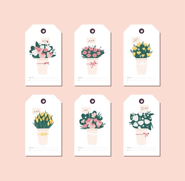 Design lineare bouquet di bellissimi fiori su sfondo bianco. tag di saluto impostati con tipografia e icona colorata.