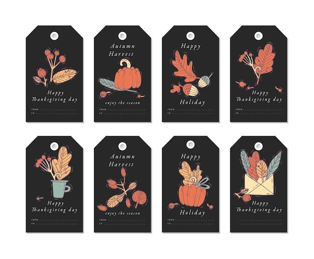 Design lineare elementi di saluti del festival del raccolto. etichette di caduta impostate con tipografia e icona colorata.