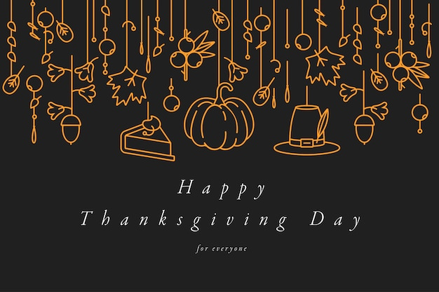 Design lineare biglietto di auguri del giorno del ringraziamento. tipografia e icona per sfondo vacanza autunnale, banner o poster e altri stampabili.