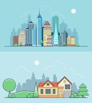 Uffici e casa del centro di affari dei grattacieli piani lineari degli edifici sul verde