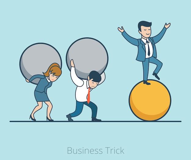 Uomo d'affari piatto lineare che equilibra sulla palla, uomo e donna trascinano sulle loro palle pesanti di auto. concetto di trucco aziendale.