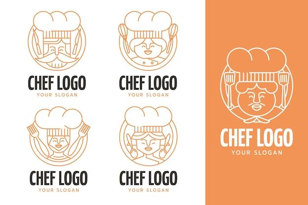 Collezione logo chef piatto lineare