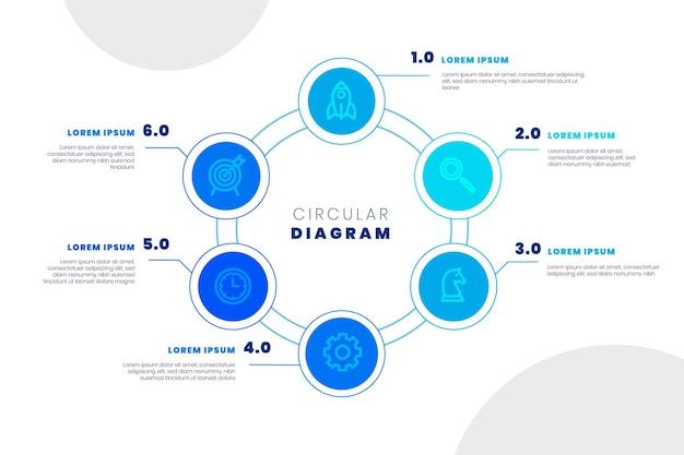 Modello di infografica diagramma circolare piatto lineare linea