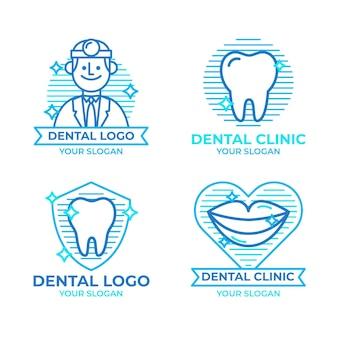 Collezione di loghi dentali piatti lineari