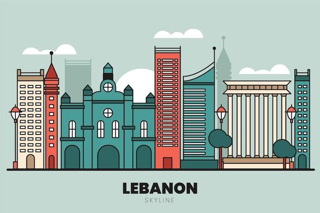 Orizzonte di libano design piatto lineare
