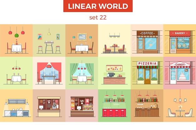 Insieme dell'illustrazione di vettore della mobilia piana lineare concetto dell'interno della casa