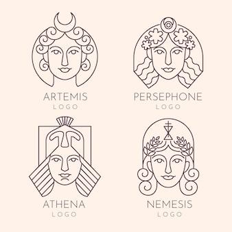 Collezione di logo della dea piatta lineare