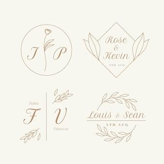 Set di monogrammi di matrimonio piatto lineare
