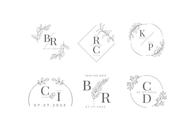 Set di monogrammi di nozze piatti lineari