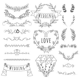Set di ornamento di nozze piatto lineare