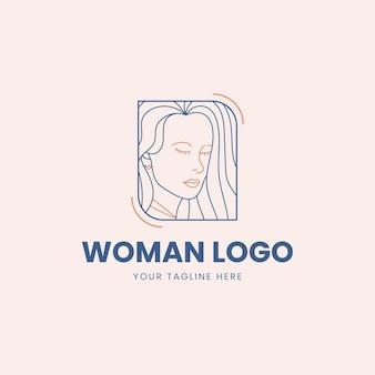Modello di logo donna piatto lineare