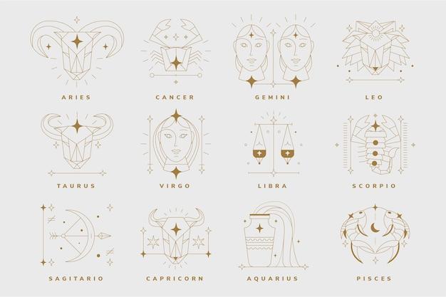 Collezione di segni zodiacali piatti lineari