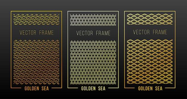 Elementi di design lineare ornamento d'oro Vettore Premium