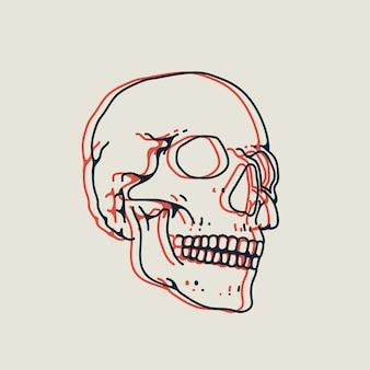 Illustrazione del cranio disegnata a mano lineare con effetto stereo isolato su sfondo bianco