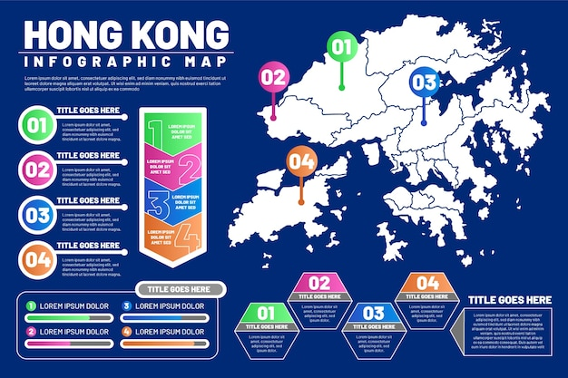 Lineare hong kong mappa infografica