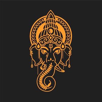 Illustrazione lineare del dio indiano religione simbolo elefante ganesh. colore dorato.