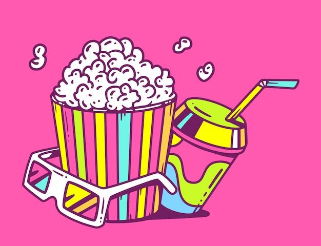 Illustrazione lineare di pop corn con succo e anaglifi occhiali per 3d su sfondo rosa.