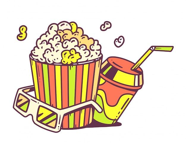 Illustrazione lineare di pop corn con succo e anaglifi occhiali per 3d su sfondo bianco.