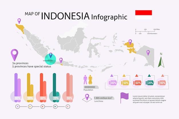 Indonesia lineare mappa infografica
