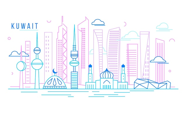 Skyline del kuwait lineare