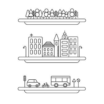 Set di icone vettoriali di elementi di paesaggio lineare. linee di alberi, collezione di paesaggi urbani vettoriali, set di strade