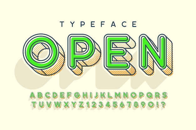 Design moderno lineare di alfabeto popart, lettere e numeri.